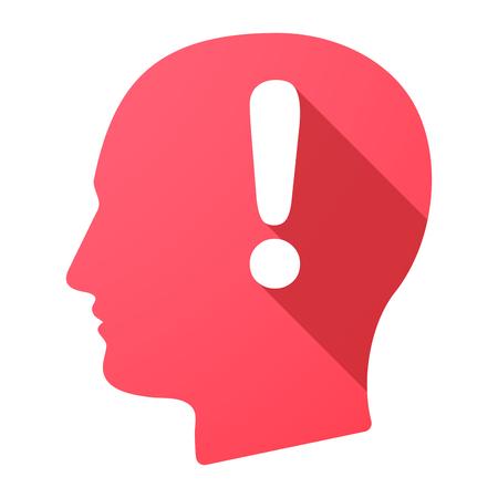 Illustration d'une icône de tête mâle avec un signe d'admiration