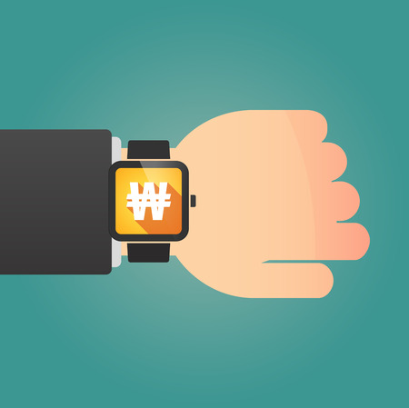 won: Illustration of a man showing a smart watch with a won currency sign Illustration