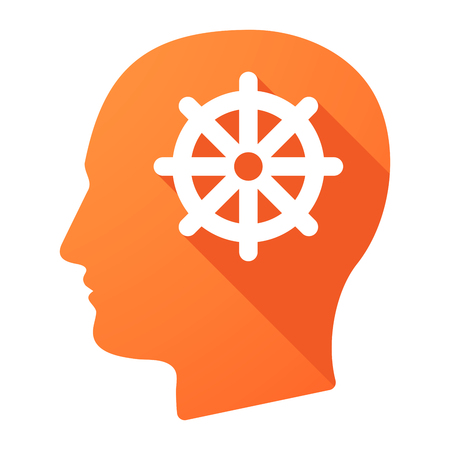 dharma: Illustration of a male head icon with a dharma chakra sign