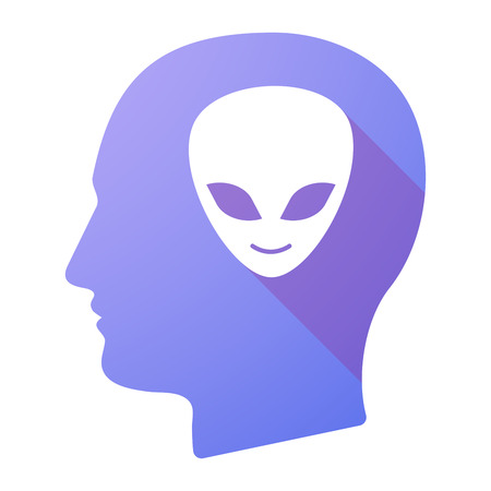 alien face: Illustration of a male head icon with an alien face