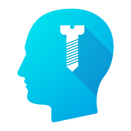 screw head: Illustration of a male head icon with a screw Illustration
