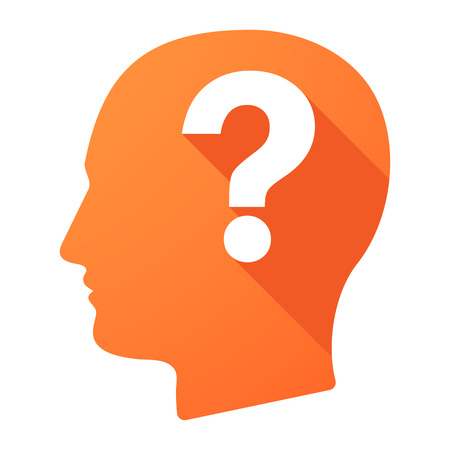 interrogation: Illustration of a male head icon with a question sign