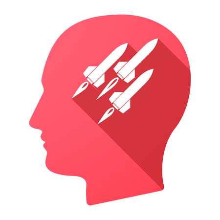 ballistic: Illustration of a male head icon with missiles Illustration