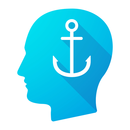 nautic: Illustration of a male head icon with an anchor