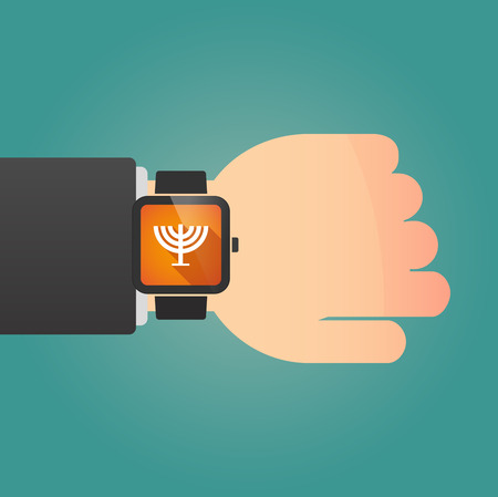 jews: Illustration of a man showing a smart watch with a chandelier