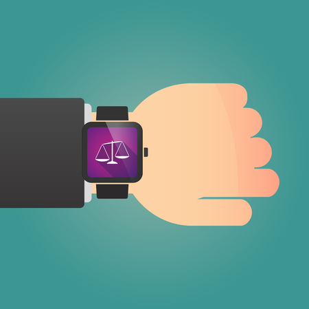 injustice: Illustration of a man showing a smart watch with  an unbalanced weight scale