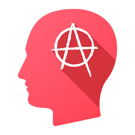 anarchy: Illustration of a male head icon with an anarchy sign Illustration