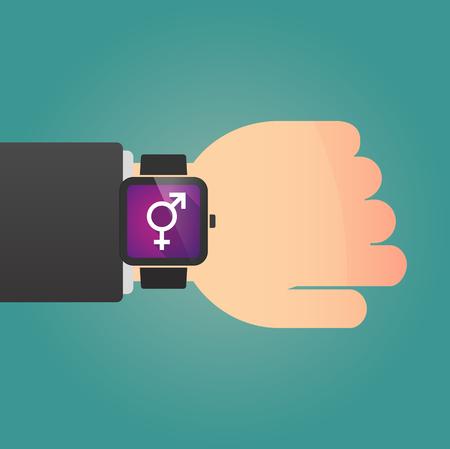 sex discrimination: Illustration of a man showing a smart watch with a bigender symbol Illustration