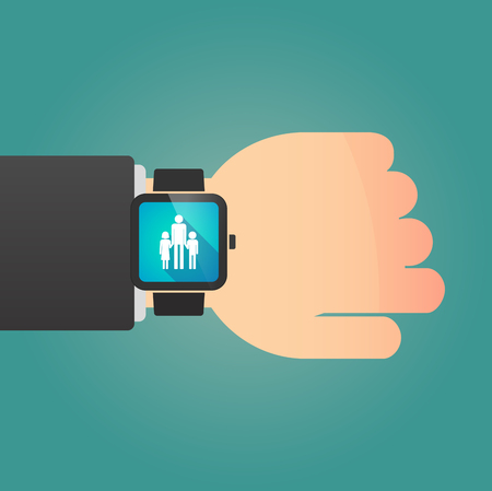 single parent: Illustration of a man showing a smart watch with a male single parent family pictogram