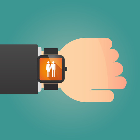 heterosexual couple: Illustration of a man showing a smart watch with a heterosexual couple pictogram