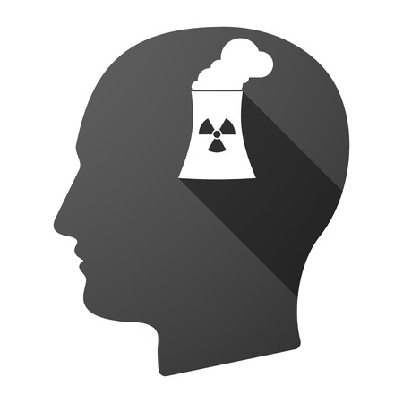 cooling tower: Illustration of a long shadow male head icon with a nuclear power station Illustration