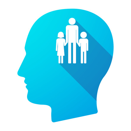 single parent: Illustration of a long shadow male head icon with a male single parent family pictogram