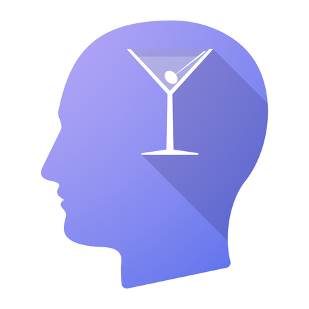 adult young: Illustration of a long shadow male head icon with a cocktail glass