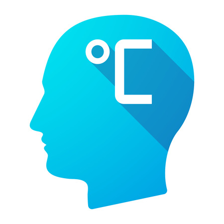 profile measurement: Illustration of a long shadow male head icon with  a celsius degree sign