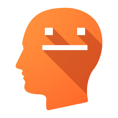 emotionless: Illustration of a long shadow male head icon with a emotionless text face