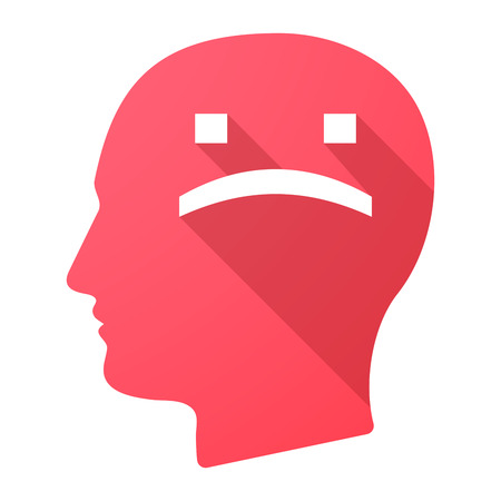 depression: Illustration of a long shadow male head icon with a sad text face