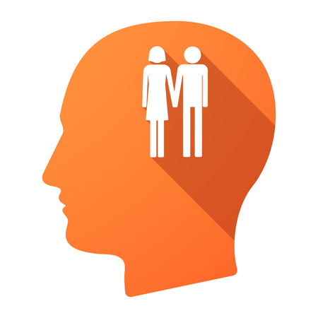 heterosexual: Illustration of a long shadow male head icon with a heterosexual couple pictogram
