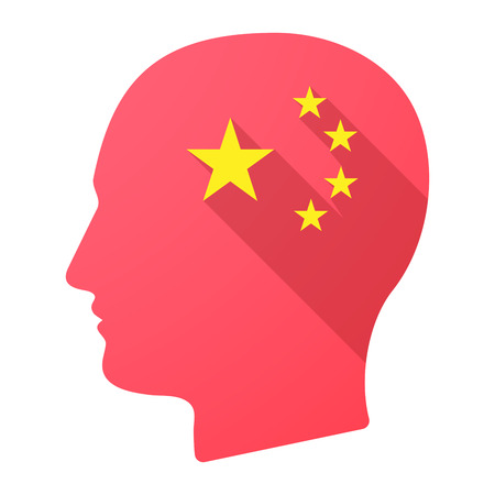 five stars: Illustration of a long shadow male head icon with  the five stars china flag symbol Illustration
