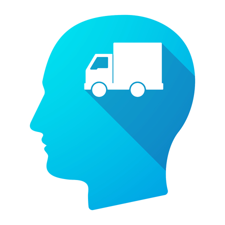 young business man: Illustration of a long shadow male head icon with a  delivery truck Illustration