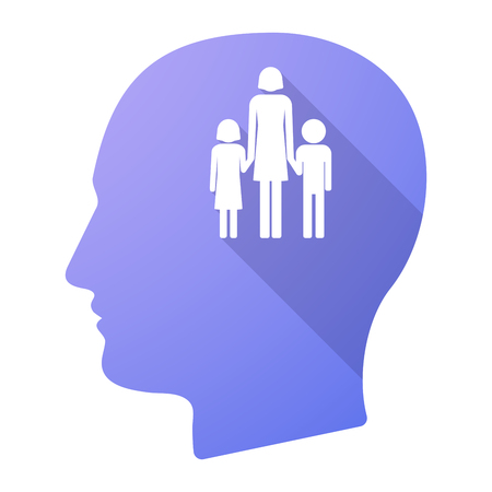 single parent: Illustration of a long shadow male head icon with a female single parent family pictogram