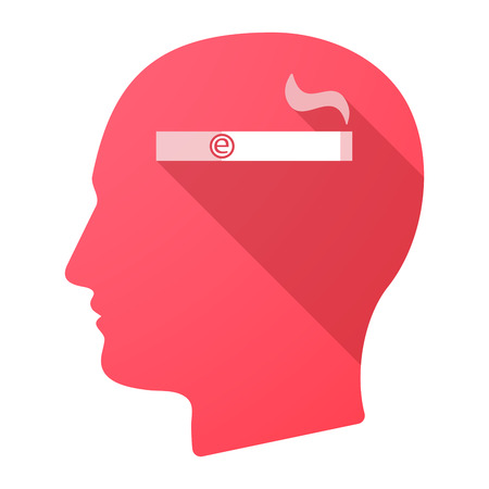 e cigarette: Illustration of a long shadow male head icon with an electronic cigarette