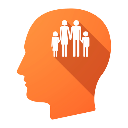 conventional: Illustration of a long shadow male head icon with a conventional family pictogram