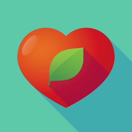 passion  ecology: Illustration of a long shadow red heart with  a green  leaf Illustration