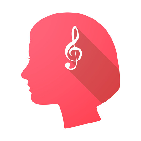 g clef: Illustration of a long shadow female head with a g clef