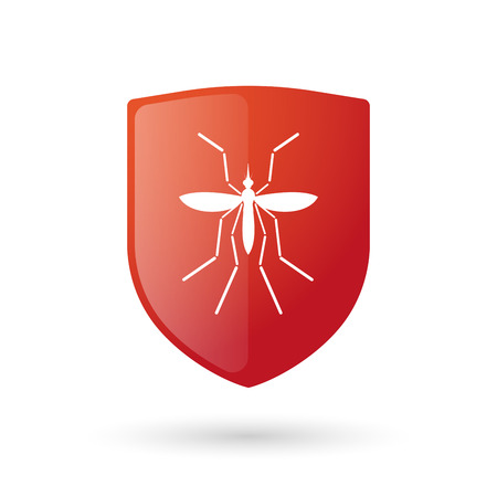 bearer: Illustration of a Zika virus bearer mosquito  in a glossy shield icon