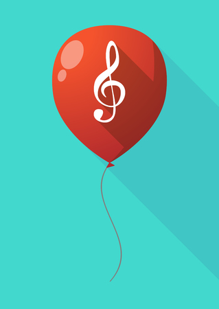g clef: Illustration of a long shadow balloon with a g clef Illustration