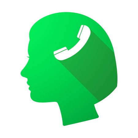 woman cellphone: Illustration of a long shadow female head with a phone Illustration