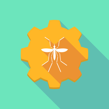bearer: Illustration of a Zika virus bearer mosquito  in a gear icon Illustration