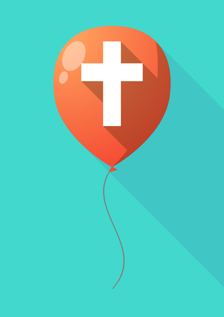 birthday religious: Illustration of a long shadow balloon with a christian cross Illustration