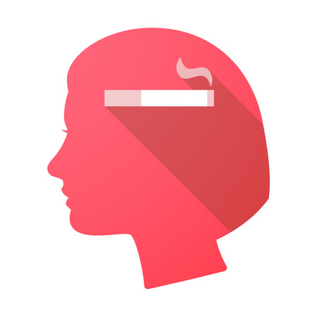cigar smoking woman: Illustration of a long shadow female head with a cigarette