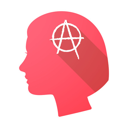 anarchist: Illustration of a long shadow female head with an anarchy sign Illustration