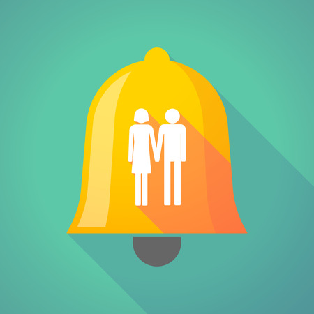 heterosexual couple: Illustration of a long shadow bell icon with a heterosexual couple pictogram