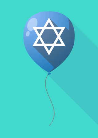 jews: Illustration of a long shadow balloon with a David star
