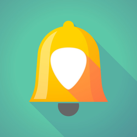 plectrum: Illustration of a long shadow bell icon with a plectrum