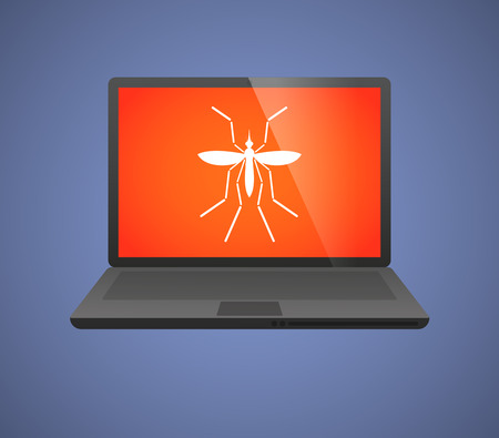 bearer: Illustration of a Zika virus bearer mosquito  in a laptop
