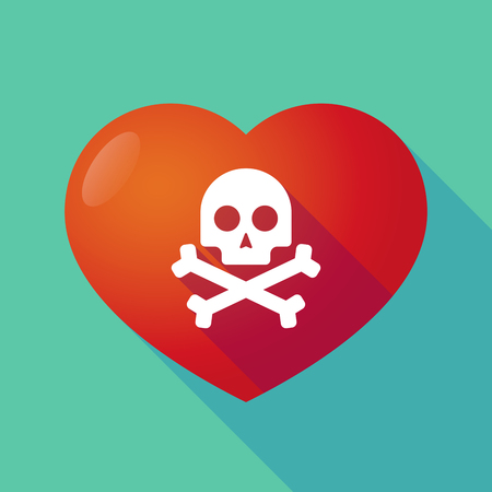 health threat: Illustration of a long shadow red heart with  a skull