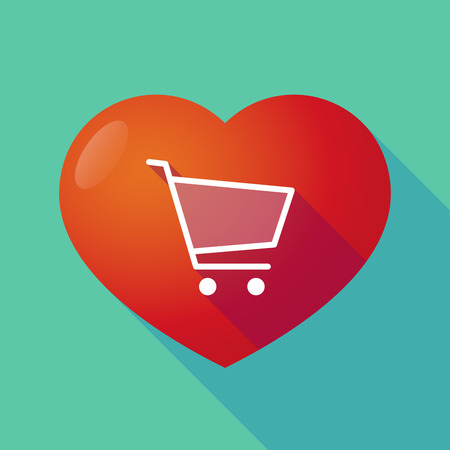 seduce: Illustration of a long shadow red heart with  a shopping cart