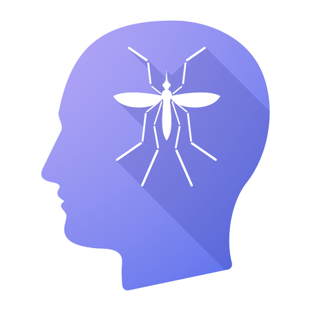 bearer: Illustration of a Zika virus bearer mosquito  in a male head icon