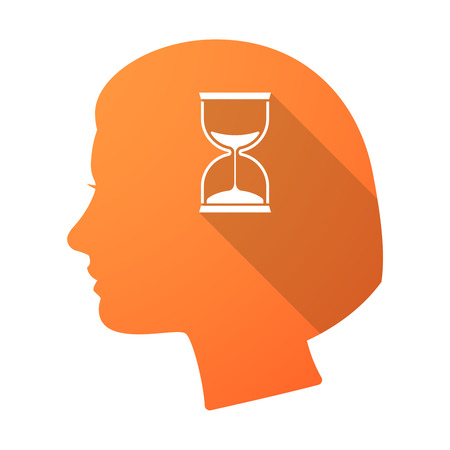 head in the sand: Illustration of a long shadow female head with a sand clock Illustration