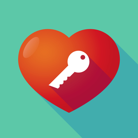 door lock love: Illustration of a long shadow red heart with  a key