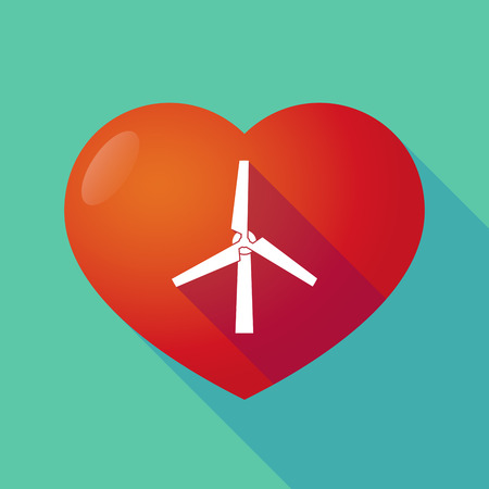 passion  ecology: Illustration of a long shadow red heart with  a wind generator