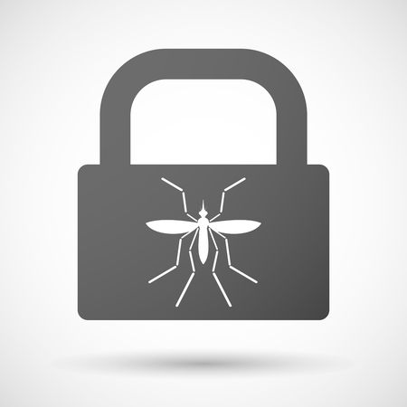 bearer: Illustration of a Zika virus bearer mosquito  in a lock icon