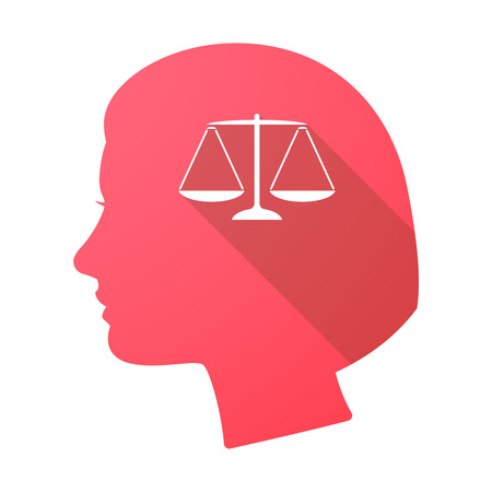 female judge: Illustration of a long shadow female head with a justice weight scale sign Illustration