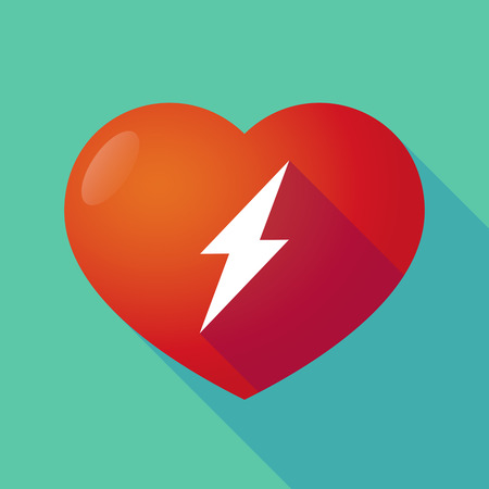 seduction: Illustration of a long shadow red heart with  a lightning
