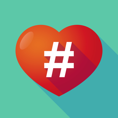 hash: Illustration of a long shadow red heart with  a hash tag Illustration