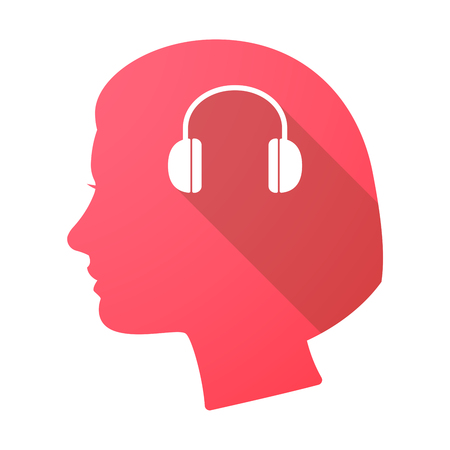 ear phones: Illustration of a long shadow female head with a earphones